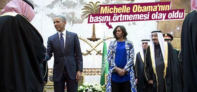Michelle Obamanın başını örtmemesi olay oldu